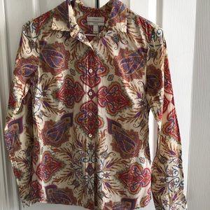 J. Crew liberty Indian paisley size 0 shirt top